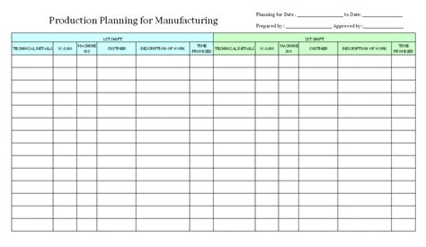 manufacturing work template simple manufacturing schedule template project