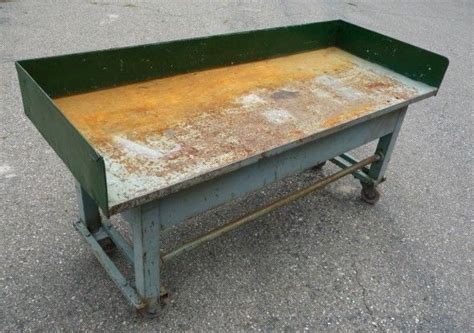 machine shop work bench vintage rolling industrial machine age work table bench ebay