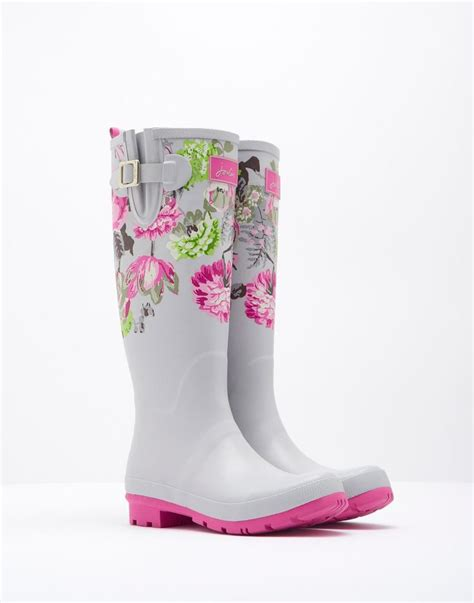 pink patterned wellies printed silver posy printed rain boots joules us