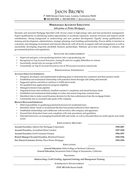 Wholesale Mortgage Account Executive Sle Resume by Car Salesman Resume Sle District Sales Manager Description