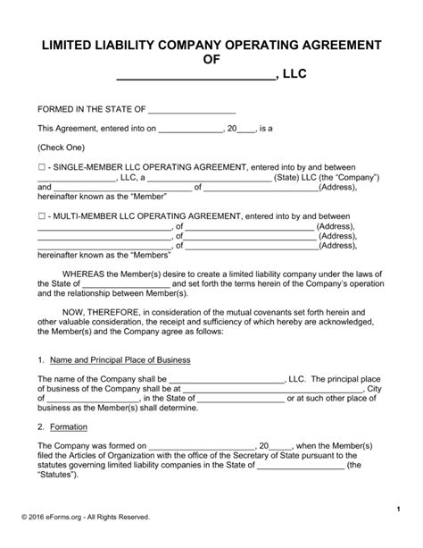free llc operating agreement templates pdf word