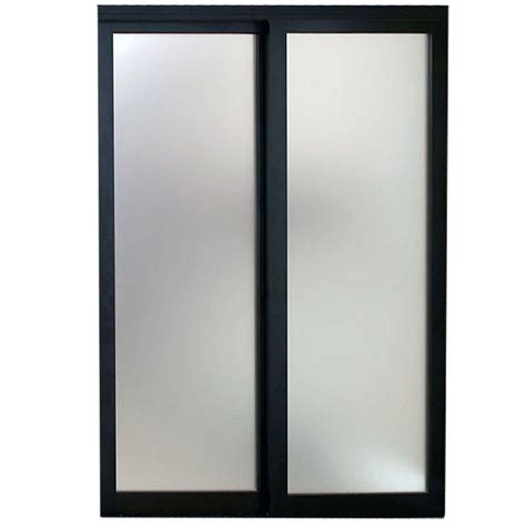 Sliding Patio Door Frame Contractors Wardrobe 96 In X 81 In Tranquility Glass Panels Back Painted White Interior
