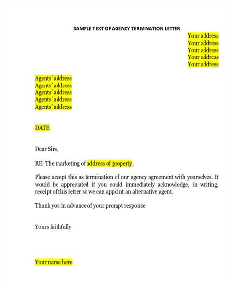 termination letter format security agency termination letter format