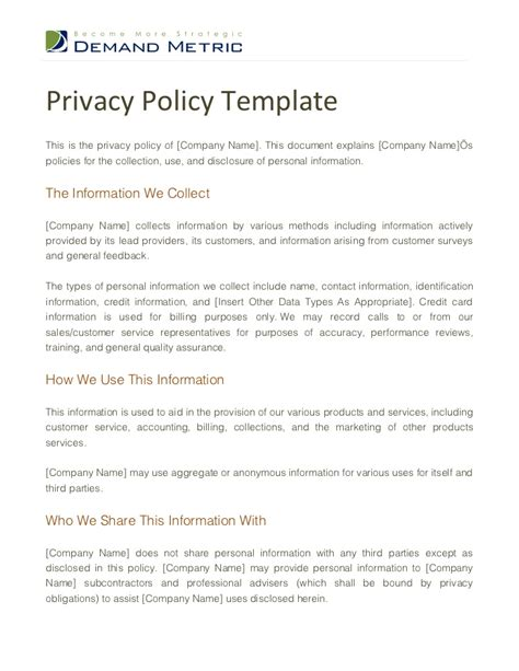 it policy document template privacy policy template