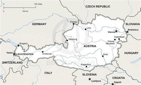 austria map with cities vector map of austria political one stop map