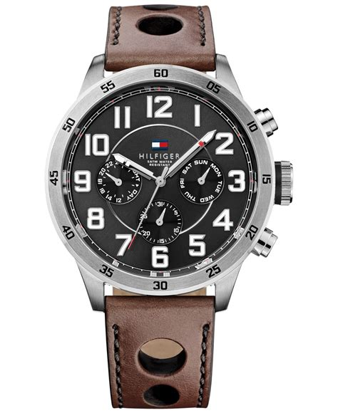 Hilfiger Brown Leather 1791056 hilfiger s brown leather 46mm 1791049 in brown for lyst