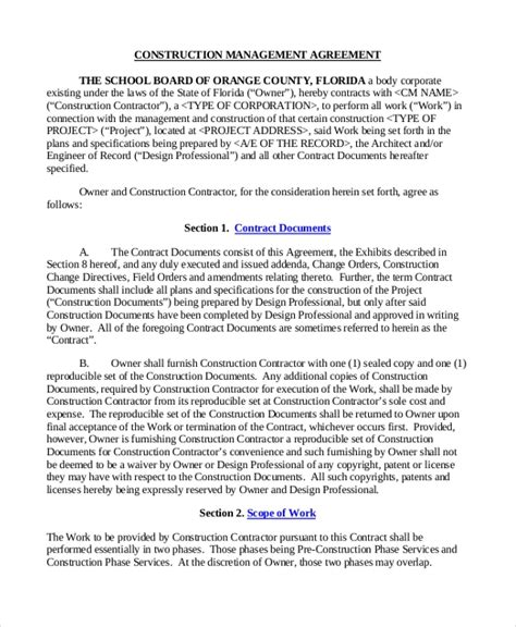 Sle Construction Contract Form 10 Free Documents In Pdf Doc Construction Management Agreement Template