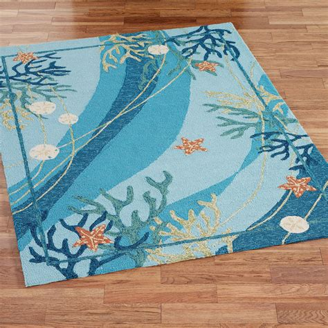 Underwater Coral Starfish Indoor Outdoor Rugs Outdoor Waterproof Rugs