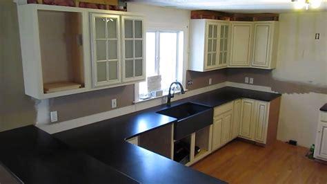 Dark Shaker Style Kitchen custom made absolute black granite counter top w