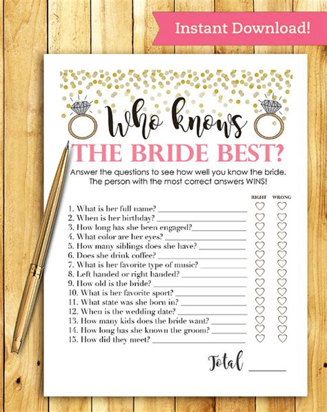 printable bridal shower questions bridal shower game download who knows the bride best