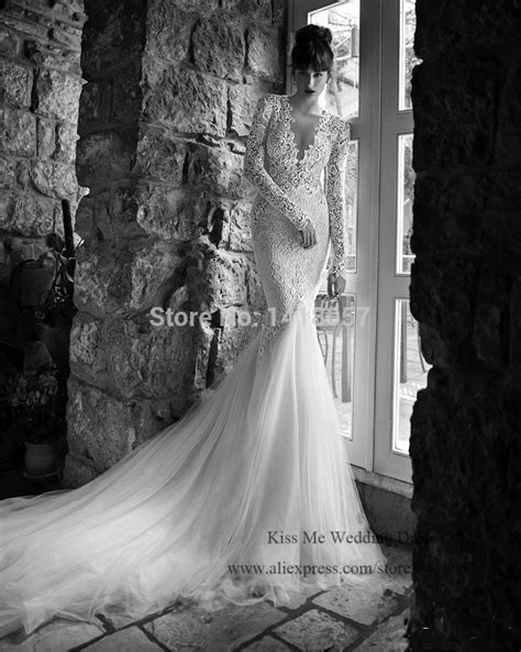 2015 Western Style Mermaid Berta Wedding Dress Lace Deep V Neck Long Sleeve Bride Dresses