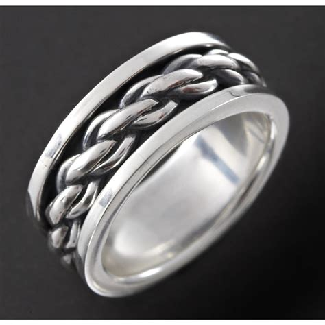 Chain Silver Ring s wildthings sliding chain band sterling silver ring