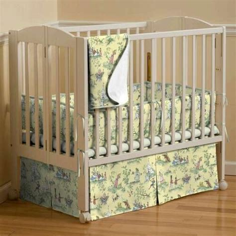 Toile Crib Bedding Yellow Toile Mini Crib Bedding Yellow Nursery Rhyme Toile Portable Crib Bedding Carousel