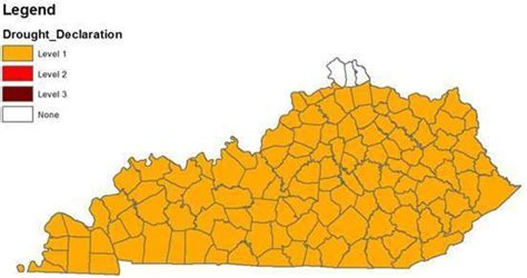 kentucky drought map most of kentucky not nky now level 1 drought