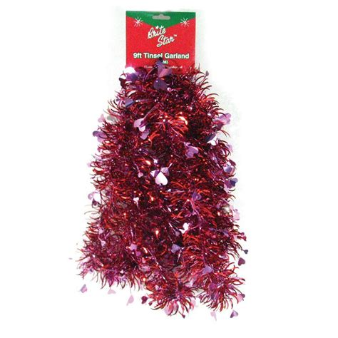 brite star 9 ft valentine red heart tinsel garland set