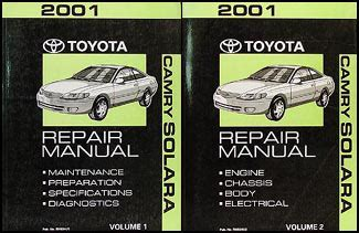 car repair manuals download 2001 toyota solara transmission control 2001 toyota camry solara repair shop manual original set