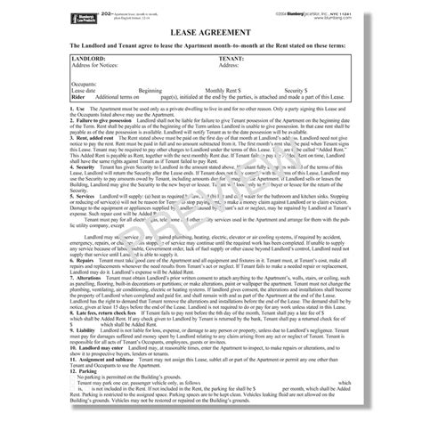 1 Year Lease Agreement Ny by Apartment Lease Agreement Ny Pdf Bestapartment 2018