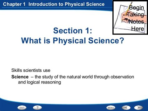 Section 1 1 What Is Earth Science by Physical Science Chapter 1 1 What Is Physical Science