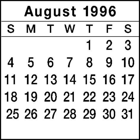August 1996 Calendar August 1996