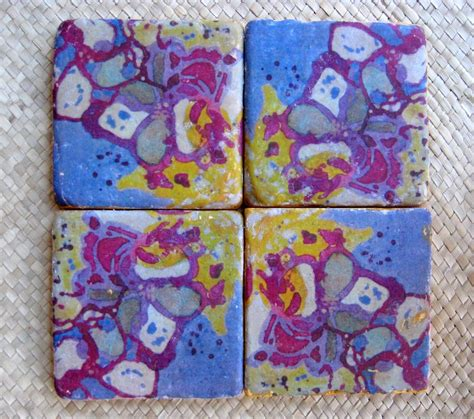Handmade Tile Coasters - crafted coasters handmade tile set of 4 with original