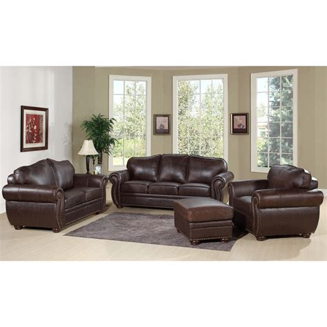 leather sofa for living room brown leather three seat and seat combined with rectangle brown polished wooden
