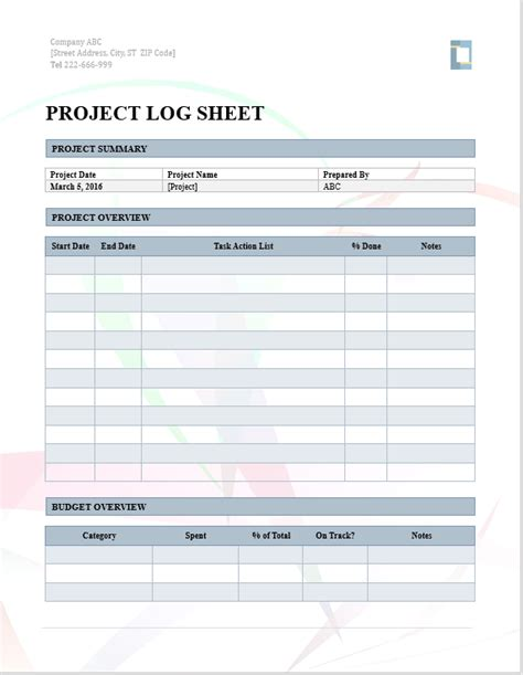 project log template project log word template microsoft word templates