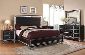 King Size Mansion Bedroom Set Wynwood Glam Black Mirrored King Size Mansion Bed Bedroom