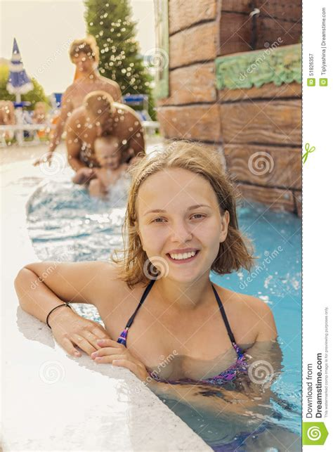 young teen girls water park see through happy teenager girl in the pool water park stock image