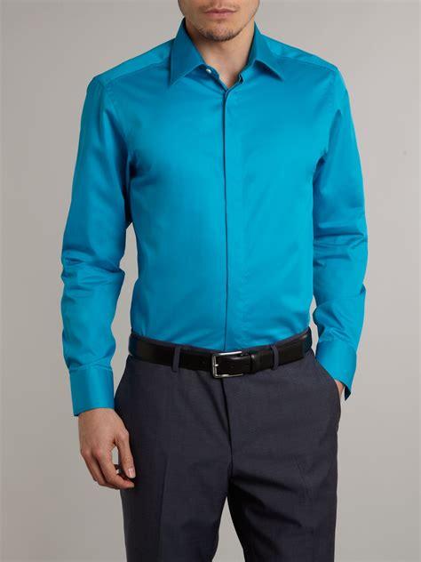 Sleeve Plain Dress Shirt cox longsleeve plain poplin formal shirt in blue