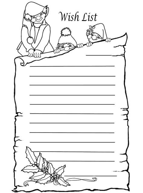 coloring pages of christmas list elves wish list to color www pheemcfaddell com