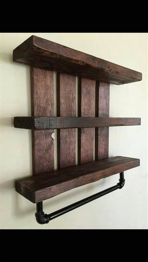 Rustic Bathroom Shelves Rustic Bathroom Shelf W Pipe Towel Rack Home And Living Cottage Chic Nursery Decor