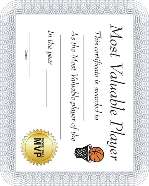 Basketball Mvp Certificate Template basketball award certificates