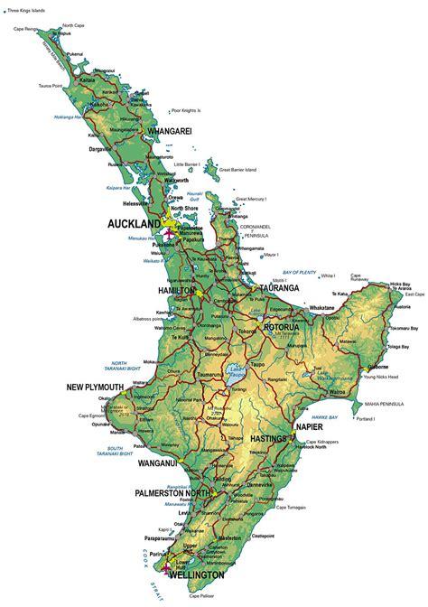 printable road map north island new zealand physical map of new zealand north island
