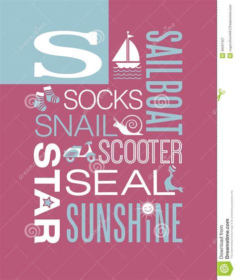 design poster in word letter s words typography illustration alphabet poster
