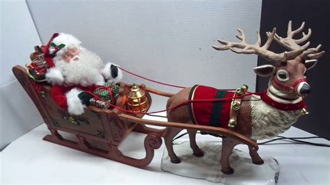 animated photos of christmas santa claus with reindeer animated reindeer and santa claus in sleigh 36 in creations light