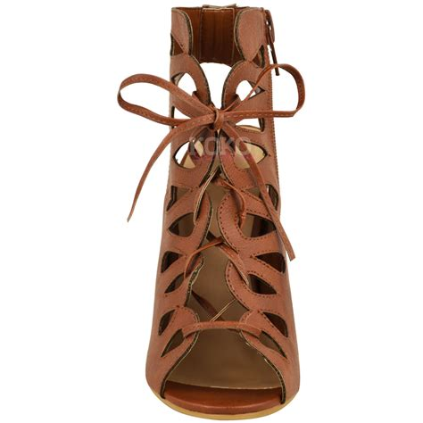lace up high heel sandals new womens cut out high heel gladiator sandals lace