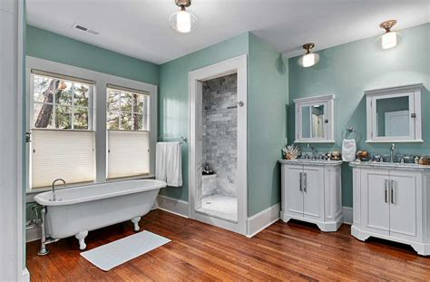 What Color To Paint Bathroom Cabinets by Cool Paint Color For Bathroom With White Vanity Cabinets