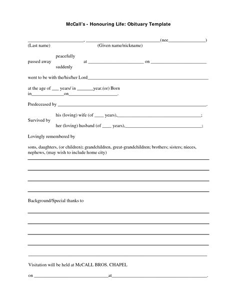 obituary outline template best photos of obituary outline program sle obituary