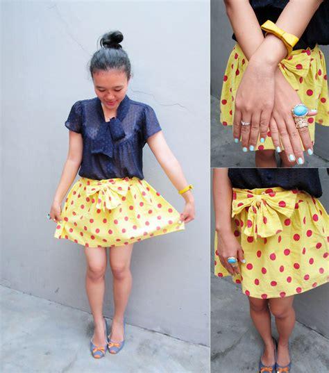 Tasya Yellow amanda tasya vintage blouse vintage polkadots skirt