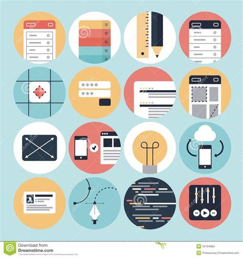 visual design application modern web development and graphic design icons stock