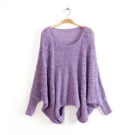 Bw615 Size S Purple Cardigan Outerwear Branded Import Luaran Wanita womens hollow batwing sleeve knit jumper pullover top sweater knitwear ebay