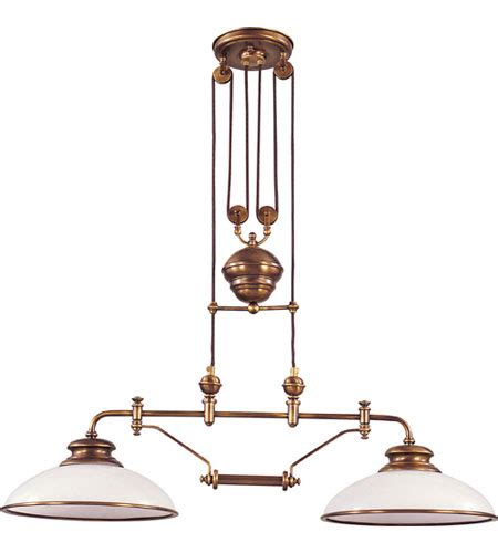 Brass Island Light Elk Lighting Classic Pulldown 2 Light Island Light In Antique Brass 6671 2
