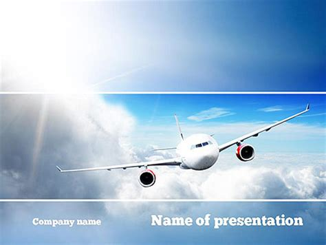 airplane ppt template sky plane presentation template for powerpoint and keynote
