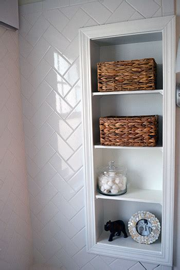 Bathroom Built In Storage Herringbone Subway Tile Lemon Grove Avenue
