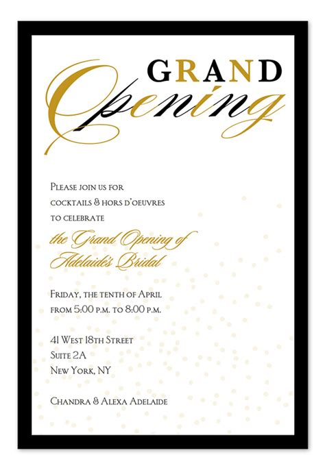 grand opening confetti corporate invitations by