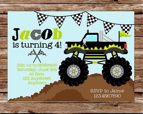 printable monster jam birthday cards monster truck invitation monster truck birthday monster
