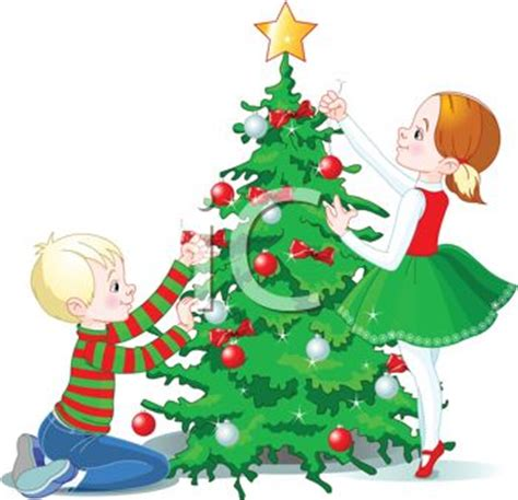 images of childrens christmas decorations children decorating the tree royalty free clipart picture