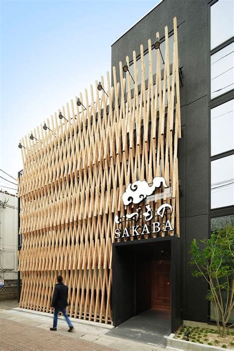 wood architecture a facade of wood latticework covers this japanese