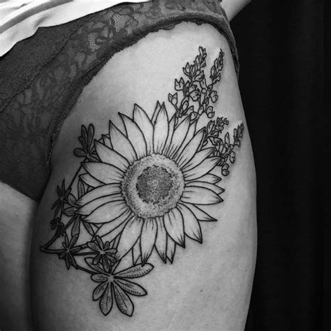 sunflower thigh tattoo best 25 thigh tattoos ideas on back
