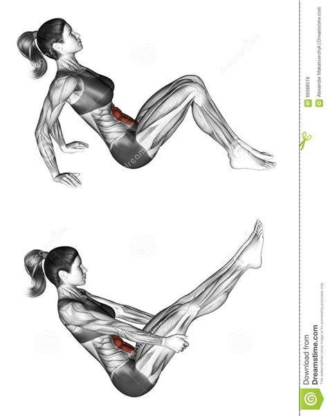 boat pose workout fitness exercising boat pose female stock illustration